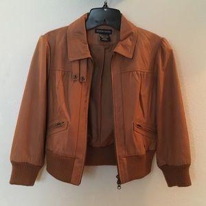 Boston proper cropped leather jacket
